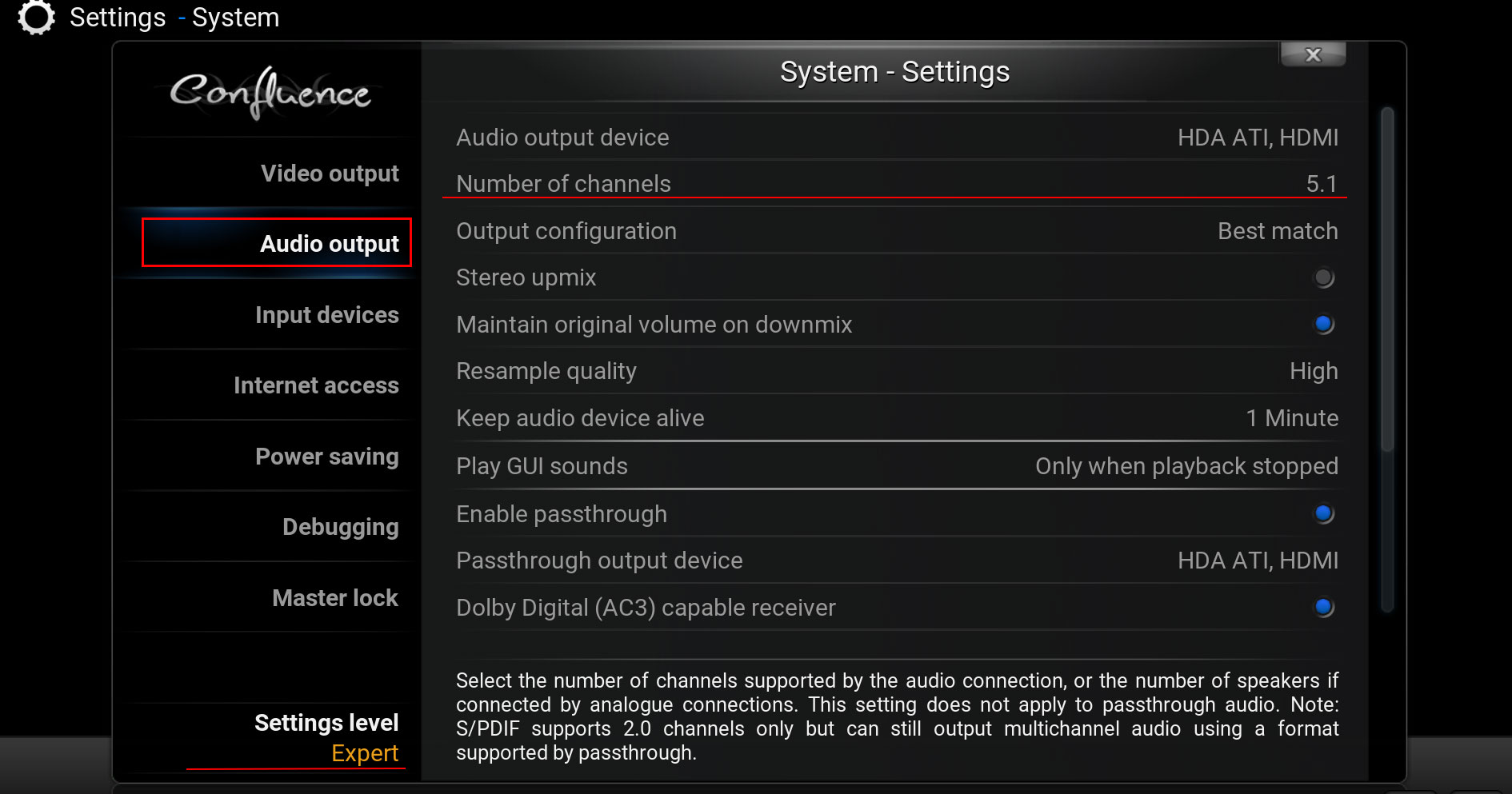 Demistify 51 71 Surround Sound With A Htpc And Kodi 7 1 Wiring Diagram We Can Tell To Output Audio Into These Number Of Channels If You Have System Just Put The